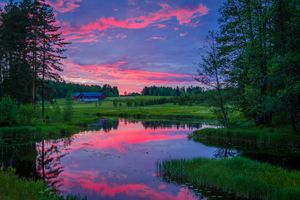 Заставки Brunsberg,Arvika,Vаrmland,Швеция,закат,озеро,деревья