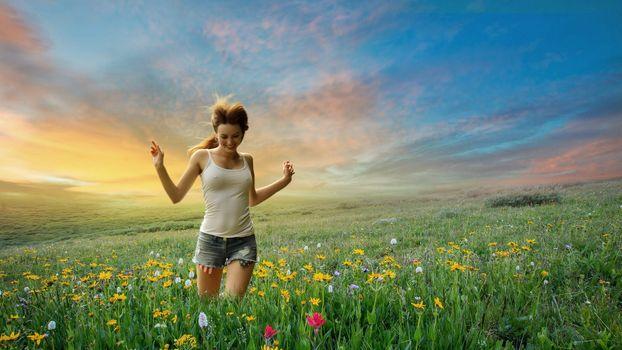Фото бесплатно девушка, настроение, закат