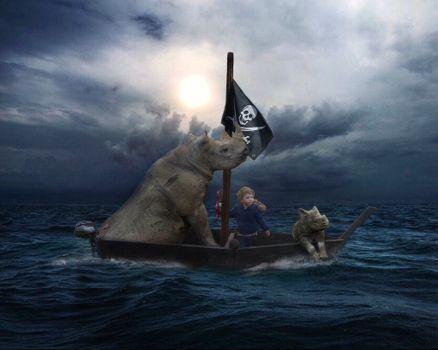 Заставки море, лодка, пиратская лодка