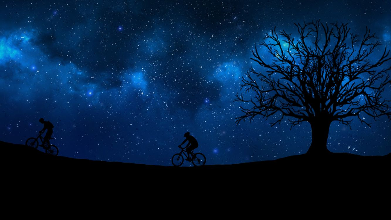 Фото бесплатно cyclist, starry sky, silhouette - на рабочий стол