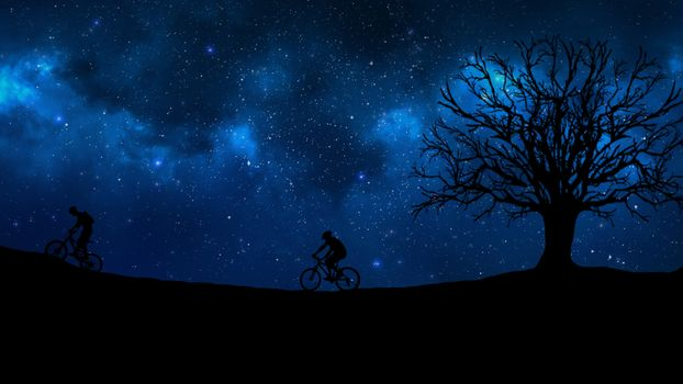 Photo free cyclist, starry sky, silhouette