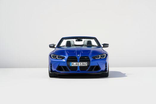 Photo free BMW M4, blue cabriolet, BMW front