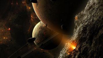 Фото бесплатно цифровое искусство, ночь, планета