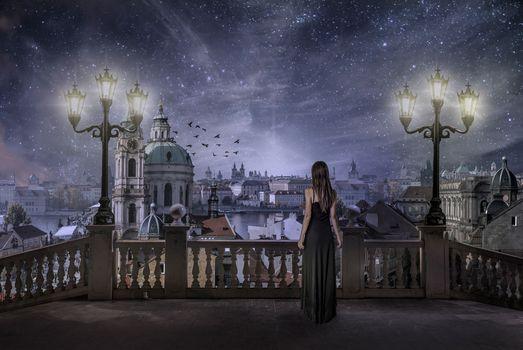 Фото бесплатно город, ночь, млечный путь