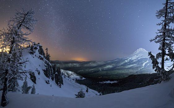 Фото бесплатно Худ зимой Гора, Портленд, штат Орегон