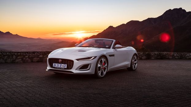 Photo free sunset, jaguar f-type p380 awd, white sports cars