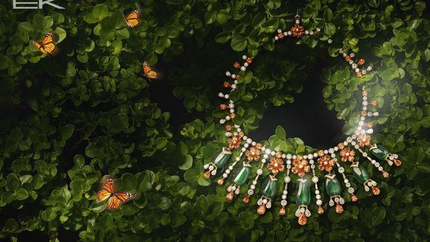Photo free greens, leaves, butterflies