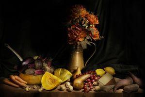 Бесплатные фото натюрморт, стол, предметы, фрукты, овощи, еда