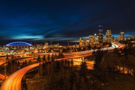 Бесплатные фото Сиэтл,Вашингтон,город,дорога,мост,ночь,иллюминация