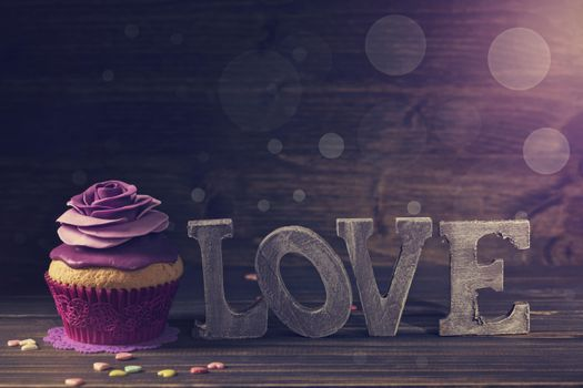 декор, violet, кекс, birthday cake