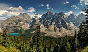Бесплатные фото Канада,Moraine lake,Британская Колумбия,горы,деревья,озеро,пейзаж