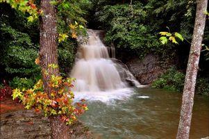 Заставки осень, лес, деревья, скалы, водопад, природа