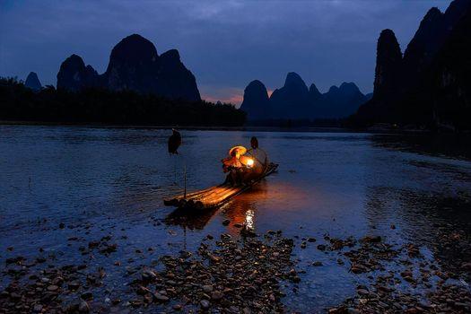 Фото бесплатно Рыбаки, Гуйлинь, река