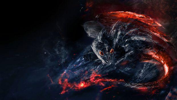 Photo free dragon, flames, fantasy creatures