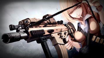 Бесплатные фото девушка,блондинка,сигарета,пулемет,аниме,girl,blonde
