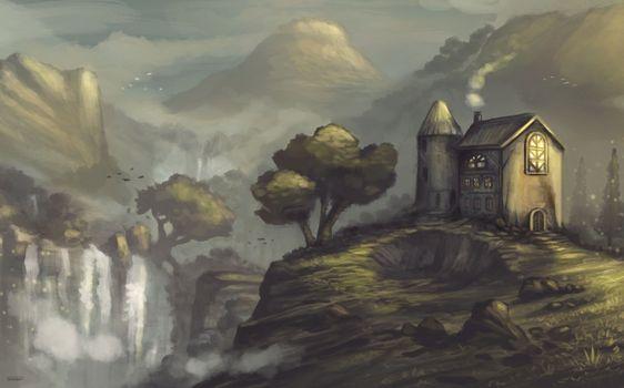 Фото бесплатно пейзаж, водопад, живописи