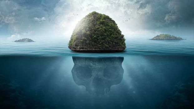 Заставки океан, подводный, остров черепа