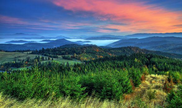 Заставки Словакия, Утро, Горы