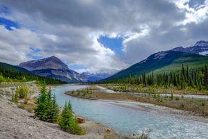 Бесплатные фото Jasper National Park,Alberta,Canada,горы,река,деревья,небо