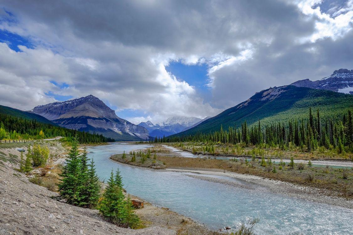 Фото бесплатно Jasper National Park, Alberta, Canada, горы, река, деревья, небо, облака, природа, пейзаж, пейзажи