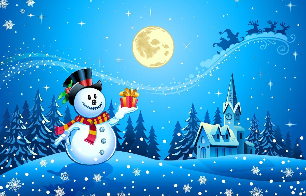 Обои Рождественские украшения, снеговик, дизайн картинки на телефон