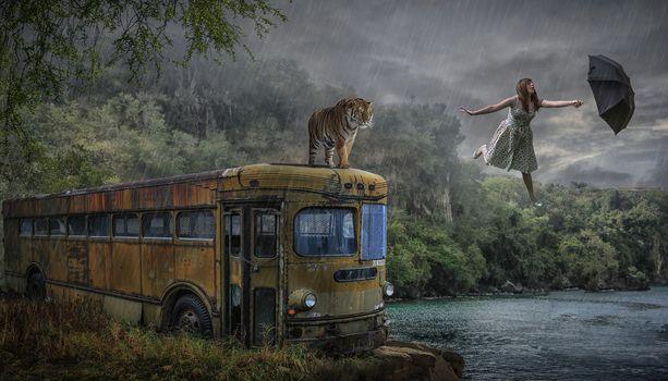 Photo free tiger, girl, umbrella