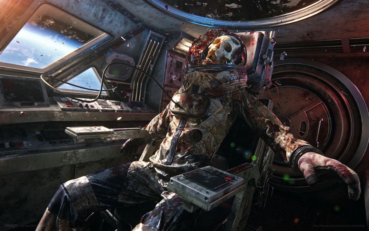 Фото бесплатно мертвый, череп, космос, космический корабль, космонавт, кровь, luis lara osorio, труп, игры