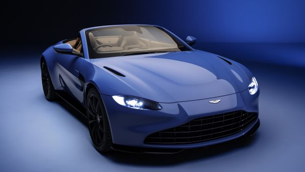 Photo free Aston Martin Vantage Roadster, front view, blue