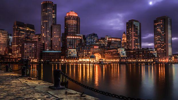 Заставки городской пейзаж,США,ночь,пейзаж,облака,вода,фотография