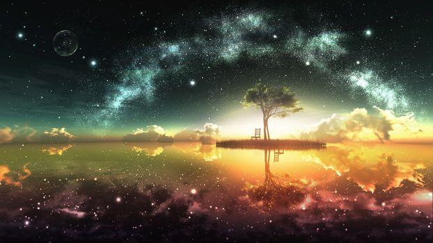 Фото бесплатно фантазийный пейзаж, одинокое дерево, отражение