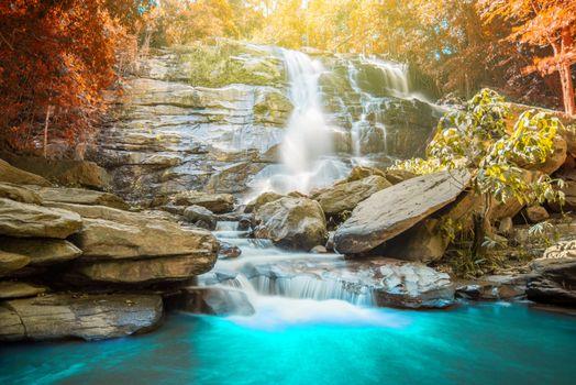 Фото бесплатно синяя вода, поток, водопад
