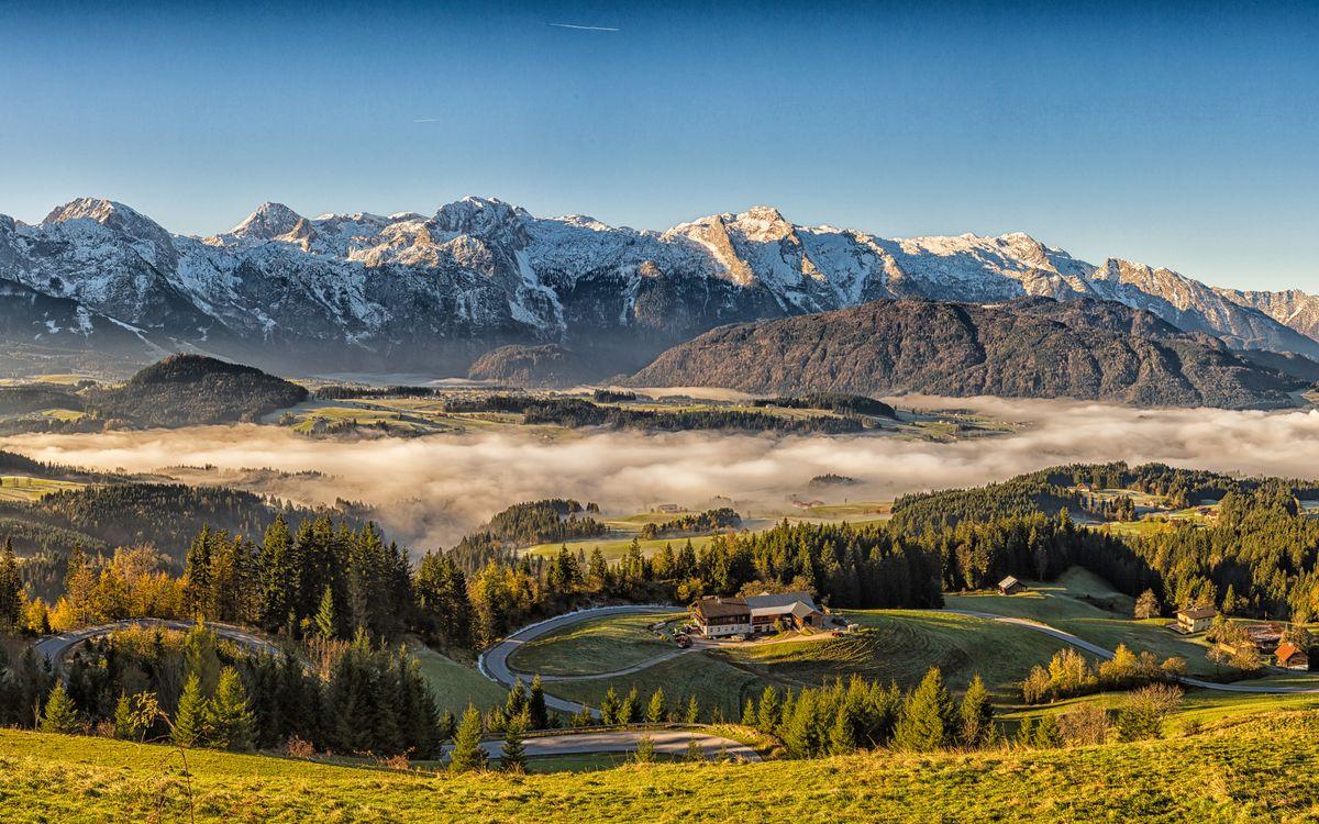 Фото природа горный туман Альпы - бесплатные картинки на Fonwall