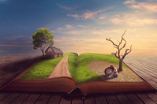 Фото бесплатно книга, закат, деревья