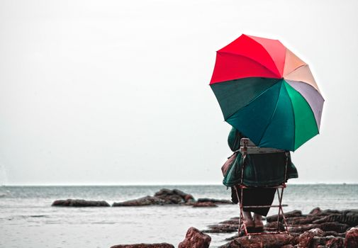 Фото бесплатно природа, зонтик, море
