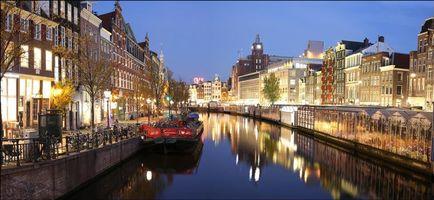 Заставки Амстердам, Нидерланды, Голландия, канал, улица, дома, город, иллюминация, ночь, панорама