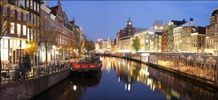 Обои Амстердам, Нидерланды, Голландия, канал, улица, дома, город, иллюминация, ночь, панорама