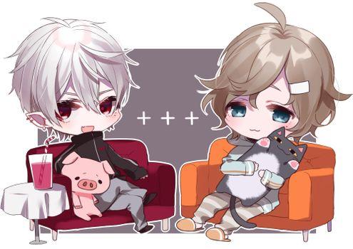 Фото бесплатно аниме мальчиков, чиби, диван