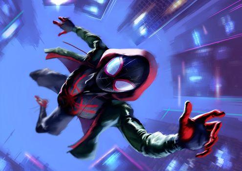 Фото бесплатно Spiderman Into The Spider Verse, произведение искусства, художник