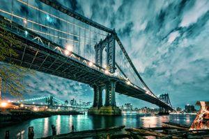 Бесплатные фото Манхэттен,Бруклинский мост,ночь,город,иллюминация