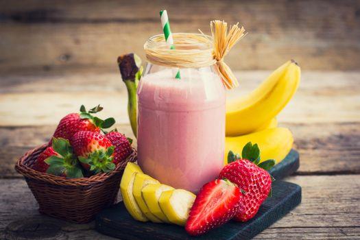 Фото бесплатно напиток, смузи, бананы