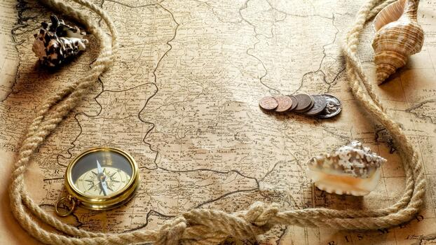 Photo free old map, rope, compass