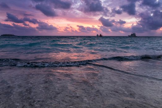 To download the wallpaper waves sunset for your desktop for free