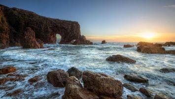 Бесплатные фото Морская арка,графство Донегал,Ирландия,закат,море,берег,скалы