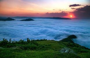 Фото бесплатно закат, горы, облака