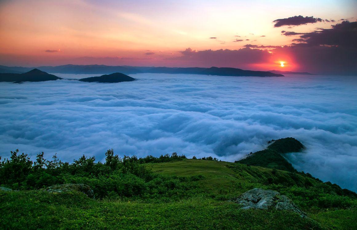 Фото бесплатно закат, горы, облака, пейзаж, пейзажи