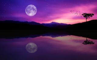 Заставки закат, озеро, луна