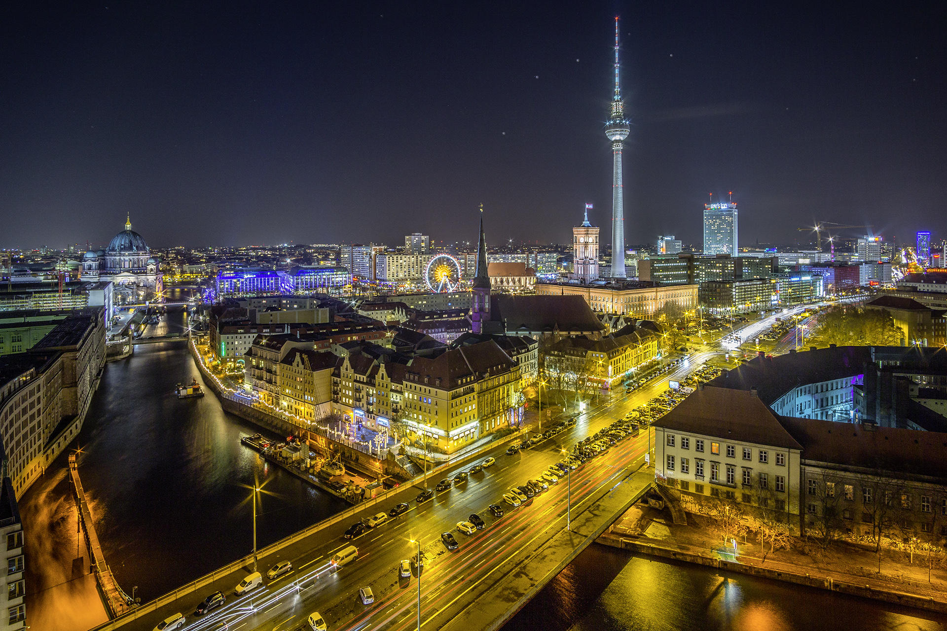 Обои Берлин, телебашня, Германия, ночь