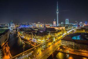 Заставки Берлин, телебашня, Германия, ночь, огни, город