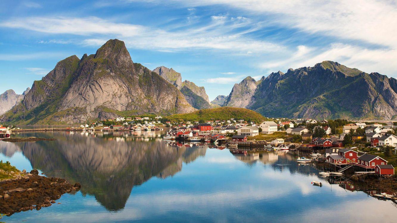 Картинка Лофотенские острова, Рейне, Reine, Норвегия, Lofoten, Lofoten Islands на рабочий стол. Скачать фото обои пейзажи