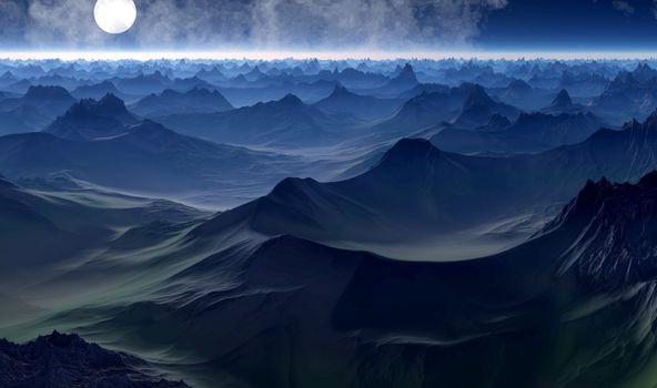 Фото бесплатно Луна, горизонт, планета